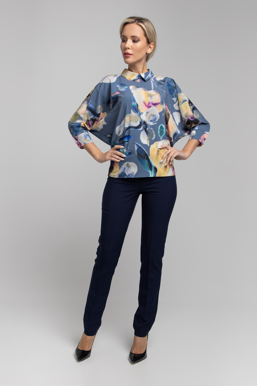 Блуза прямого силуэта с рукавами летучая мышь. 0030-01-27-27-17